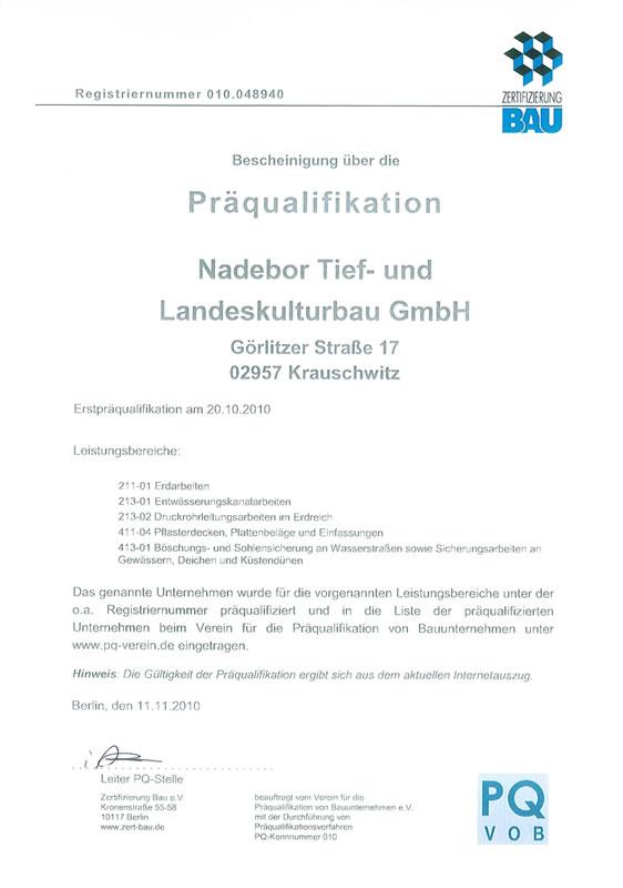 Zertifikate der NADEBOR Tief- & Landeskulturbau GmbH aus Krauschwitz ...